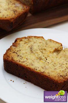 Healthy Cakes Recipes: Low Fat Banana Cake. #HealthyRecipes #DietRecipes #WeightlossRecipes weightloss.com.au