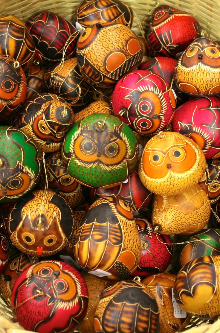 Fair Trade Gourd Owl Ornaments, handmade in Peru — perfect for fall, Halloween, Christmas or anytime! — find them at http://fairandsquareimports.com/holiday/gourd-owl-ornament-peru — These adorable owls hand-carved out of dried gourds are great for any season. Peruvian artists sketch and hand-carve the designs then, using a burning tool, they naturally add the rich shades of browns and blacks.