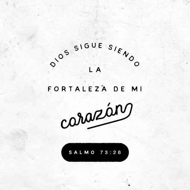 """""""Mi carne y mi corazón desfallecen; Mas la #roca de mi #corazón y mi porción es #Dios para siempre."""" #Salmos 73:26 RVR1960 http://bible.com/149/psa.73.26.rvr1960"""
