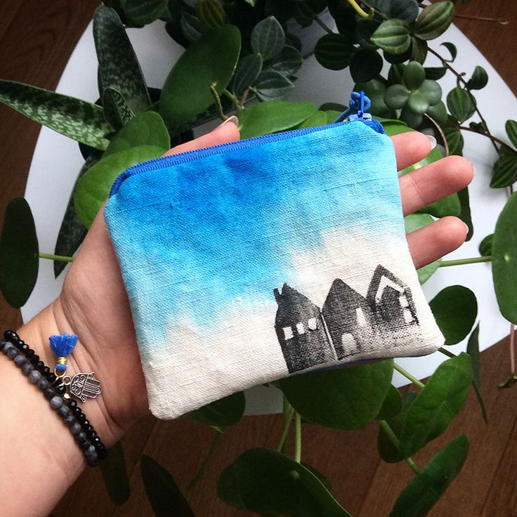 Mini linen hand painted ombre blue pouch. Coin purse, cosmeticbag. Hand stamped. Houses pattern