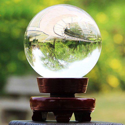 Hipiwe 80mm/3pollici Chiara Sfera di Cristallo con Base per Feng Shui/Divination o per Decorazioni di Nozze/Casa/Ufficio