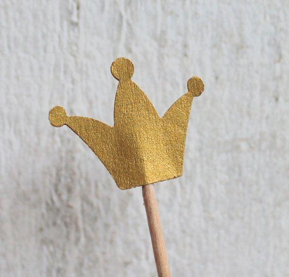 10 Cupcake-Toppers Gold Krone Muffin-Dekoration von ChristianePaper