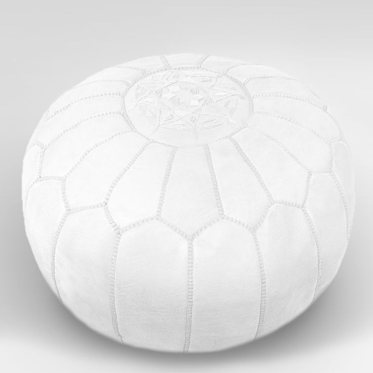 White Leather Moroccan Pouffe Ottoman, Pouf, Footstool