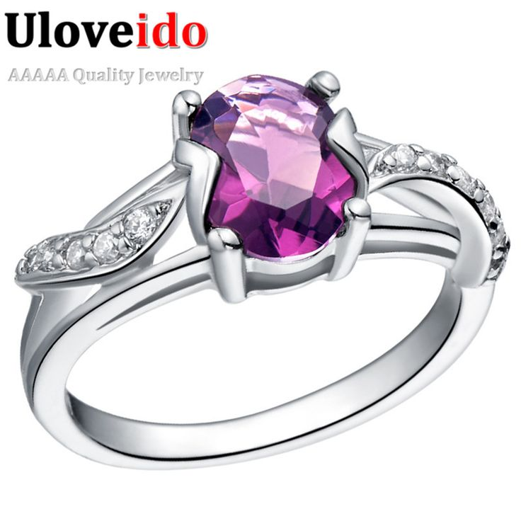 Find More Rings Information about Uloveido 2016 Cute Blue/Red/Purple Oval Rhinestone Ring Amethyst CZ Diamond Joyas Engagement Silver Rings for Women Jewelry J288,High Quality ring lead,China ring real Suppliers, Cheap ring mount from ULOVE Fashion Jewelry Official Store on Aliexpress.com