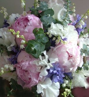 Fabulous peonies, delicate Lily of the Valley, Sweet Peas and Bluebells make for a simply stunning bridal bouquet. Old fashioned garden flowers and subtle styling gives this bouquet a luxurious look.