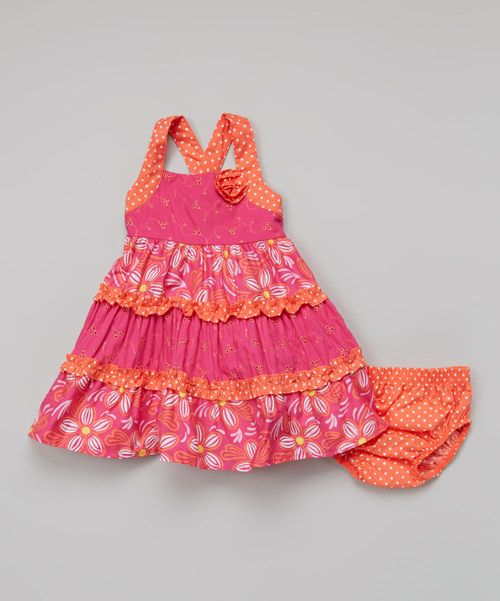 Look what I found on #zulily! Dark Pink & Orange Swing Dress - Infant, Toddler & Girls by Young Hearts #zulilyfinds