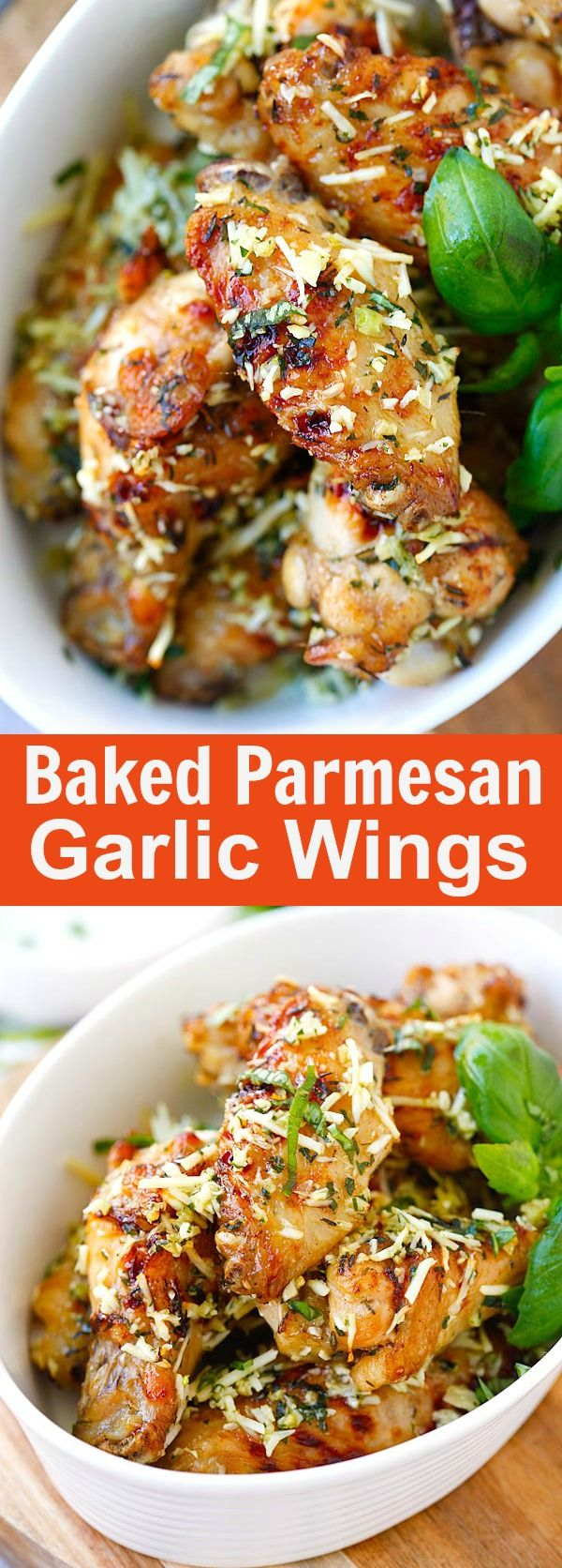 Baked Parmesan Garlic Chicken Wings – best wings EVER with parmesan, garlic, basil, and spices, with blue cheese mustard dressing | rasamalaysia.com