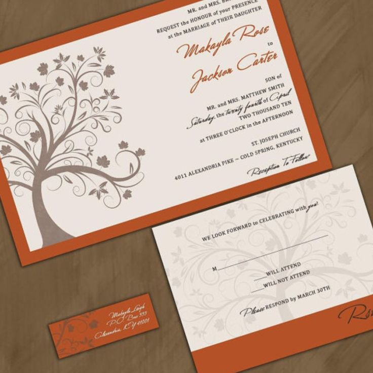 how to address wedding invitations inside envelope%0A Custom Wedding Invitations  Fall Maple Tree  Rich Autumn Wedding  Invitation Suite with RSVP cards and address labels