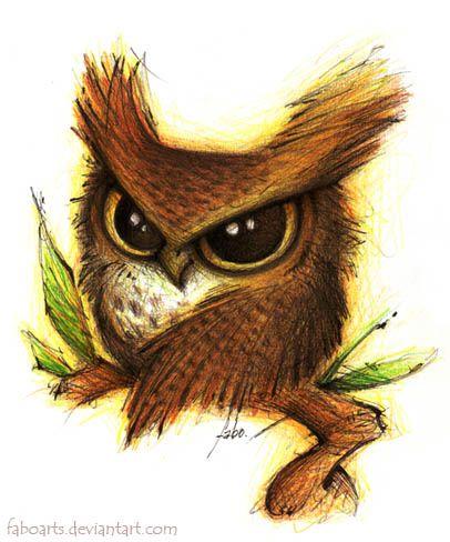 Búho Cornudo Great Horned Owl Feb 2011 Tinta y lápices de colores Ink & colored pencils Fabo Soli Deo Gloria