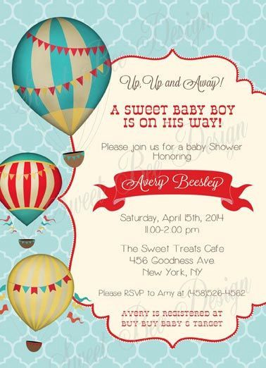 hot air balloon baby shower invitation vintage hot air balloon hot air