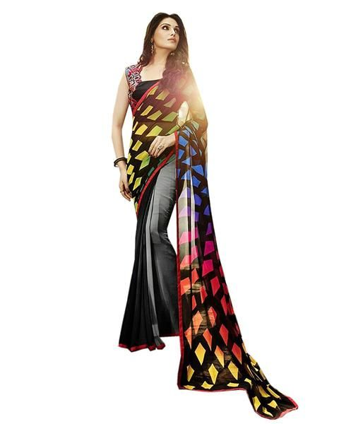 Latest Designer Store Self Design Gray Georgette Printed Saree With Un-Stiched Blouse