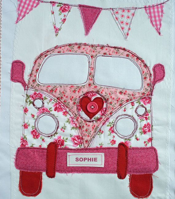 "Retro VW Van Personalized Wall Art for Girl. Nursery Decor. VW Bus. Pink Retro Hippie Van, Camper Van Art. Christening Baptism Gift.  16""x20..."