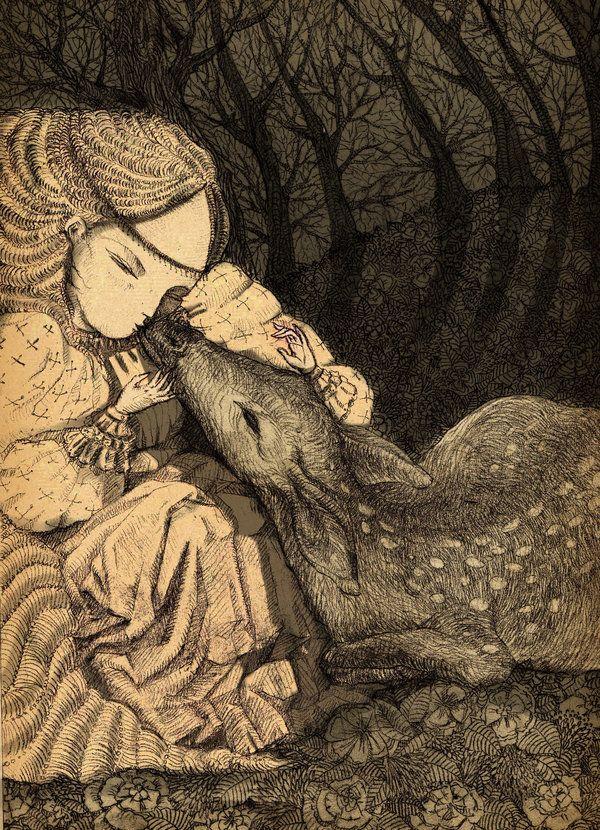 #beauty #deer #forest #girl #kiss #love #meadow #nature #princess #romance #tenderness #trees #art