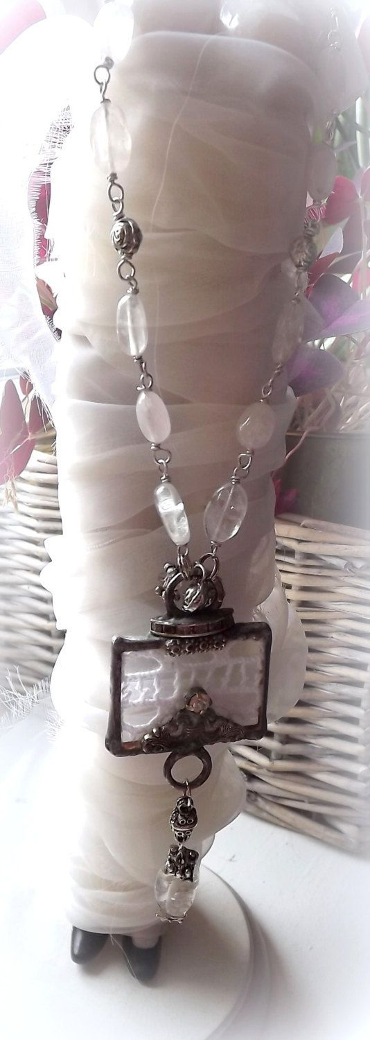 Necklace in vintage style. Necklace with pink by AcoyaJewellery
