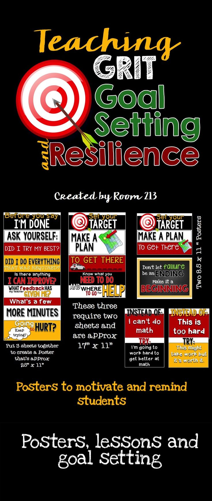 Growth Mindset: Teach your students about grit!  Help them make smart goals and discuss the importance of failure in the learning process. Twelve posters, a slide show and a lesson plan included.