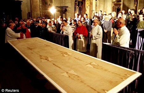 The Shroud of Turin at The Cathedral of John the Baptist in Turin, Italy.