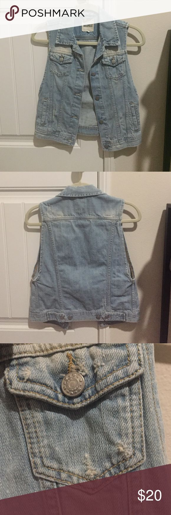 Denim vest Light wash denim vest from Brandy Melville. It has 2 pockets and 5 buttons in the front. The 2 button pockets on the chest are functional. There are also two more pockets on the sides to put your hands in. There is a tiny bit if scratch destructed detail ;) size says medium but it feels like a small Brandy Melville Tops