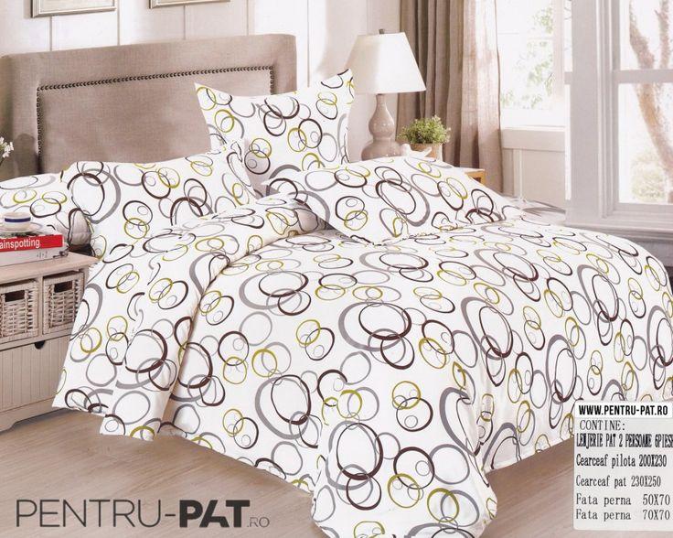 Lenjerie de pat bumbac satinat Casa New Fashion cu cercuri colorate