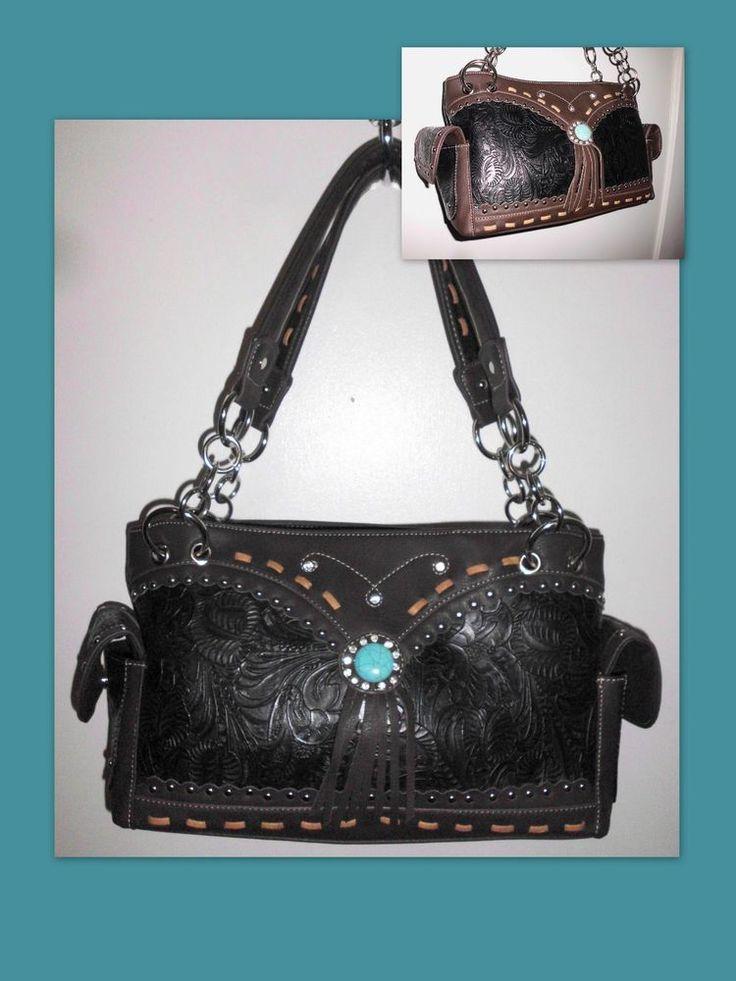TEXAS LEATHER Concealed Carry Western Tooled Embellished Handbag Brown Black  #TexasLeatherManufacturing #ShoulderBag
