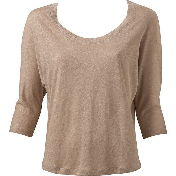 Crop Sleeve Boxy Tee ($40) ❤ liked on Polyvore featuring tops, t-shirts, shirts, women, browns jersey, linen t shirt, brown t shirt, long-sleeve crop tops and brown shirts