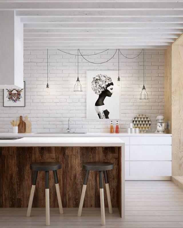 Idées déco pour une petite cuisine ouverte | Design Feria j aime bien la 5 eme tout tiens ds un petit espace!!!! Et désign en plus!!!!