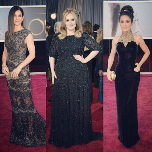 Sandra Bullock in Elie Saab Haute Couture, Adele in Jenny Packham and Salma Hayek in Alexander McQueen