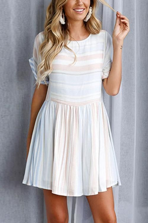 Baby Blue Stripe Mini Dress
