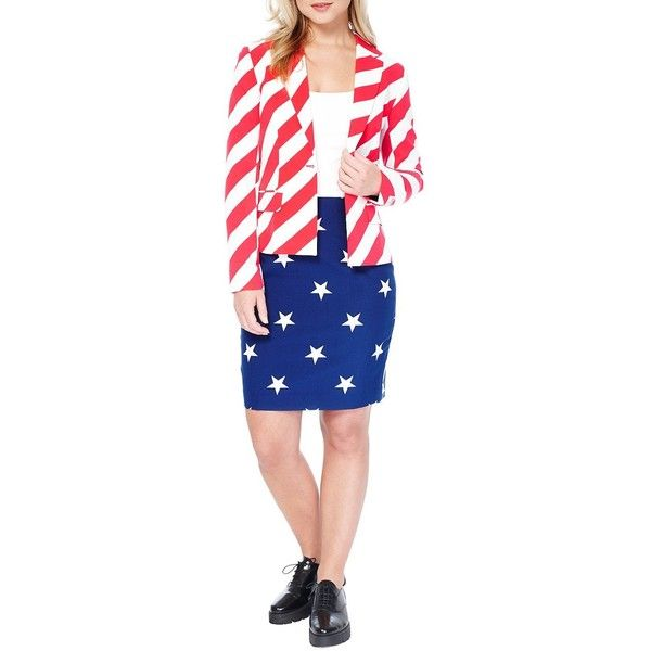 Opposuits Women's American Woman Skirt Suit ($80) ❤ liked on Polyvore featuring suits and red white blue
