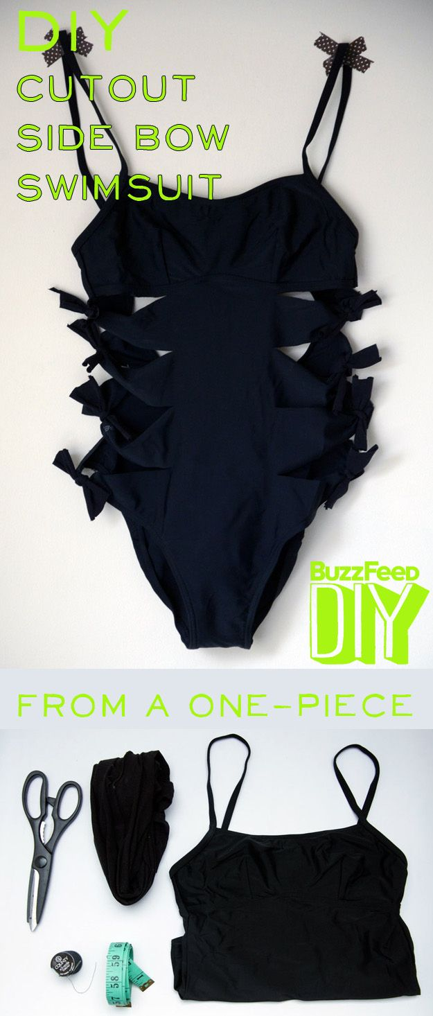 4. Side Bow Swimsuit | 4 DIY Ways To Transform Your Boring Old Bathing Suit