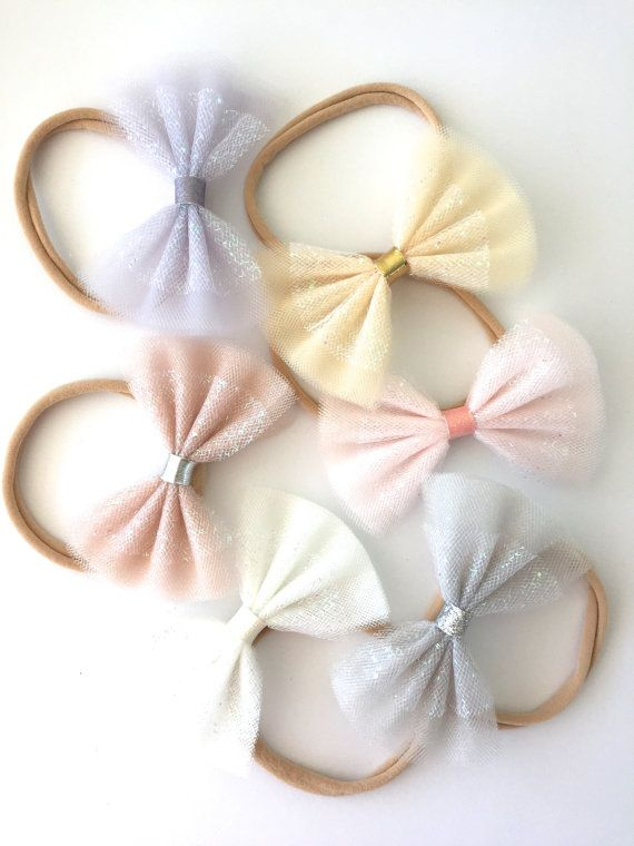 Sparkle Tulle Bows - Neutrals - Tulle bow headbands, Tulle bow hair clips, Spring bows, Pastel bows, Glitter bows, Sparkle bows
