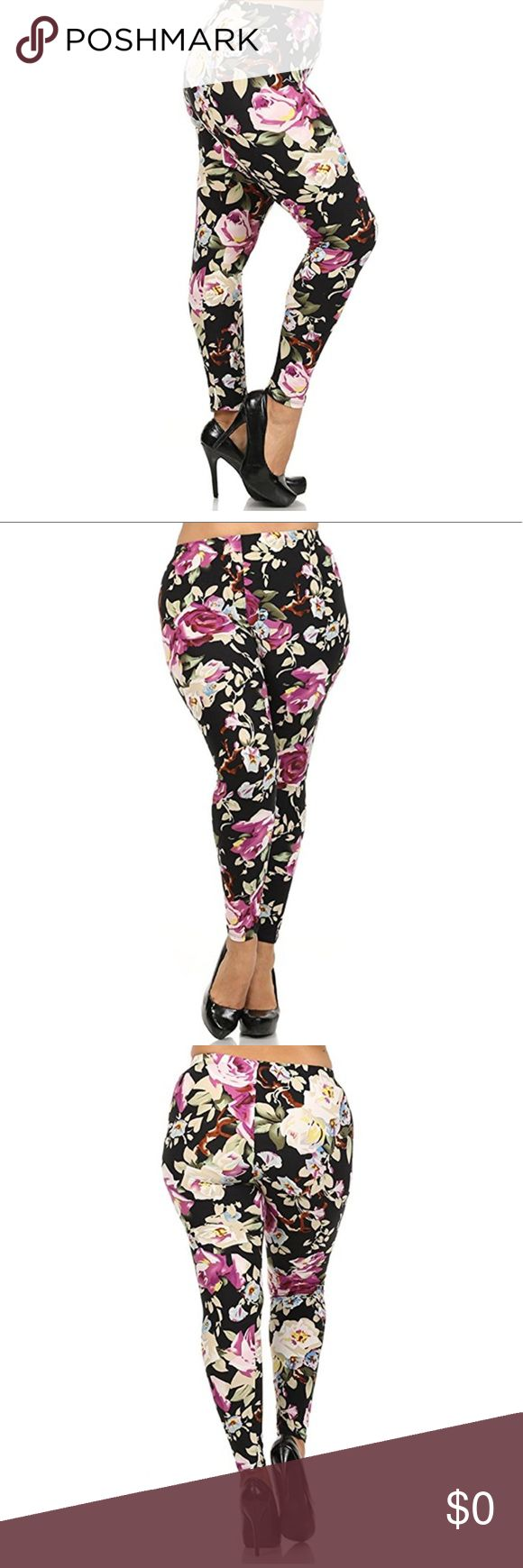 Plus Size Leggings Plus Size Beautiful Floral Leggings. The options are limitless with these! 92% Polyester, 8% Spandex Pants Leggings