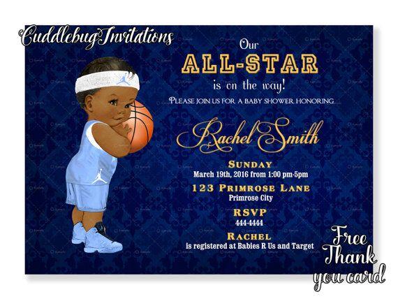 African American Basketball Boy Baby by CuddleBugInvitations
