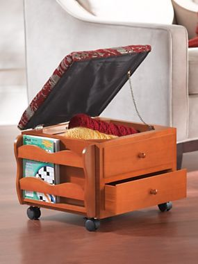 Rolling Footstool, padded stool with storage, rolling ottoman with storage, small space living