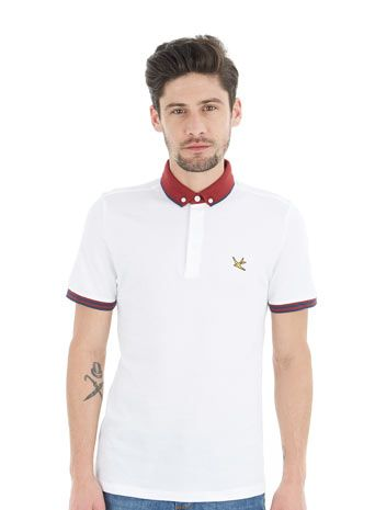 White Colour Block Polo Shirt - Mens Plain Polo Shirts - Mens Polo Shirts - Clothing