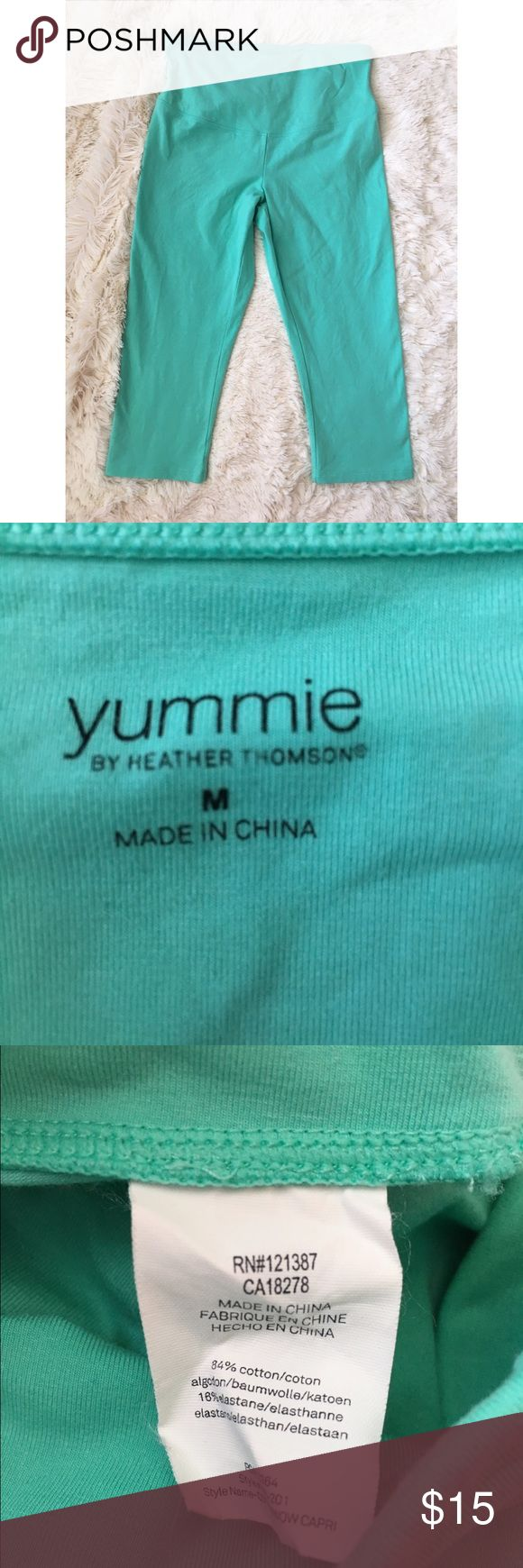 """Yummie by Heather Thomson slimming capri Yummie by Heather Thomson --the WOW slimming hi rise Capri. Perfect for your workout or just casually running errands! Cotton and elastane blend. VGUC! Mint green color. 16"""" inseam. Size Medium. Yummie by Heather Thomson Pants Capris"""