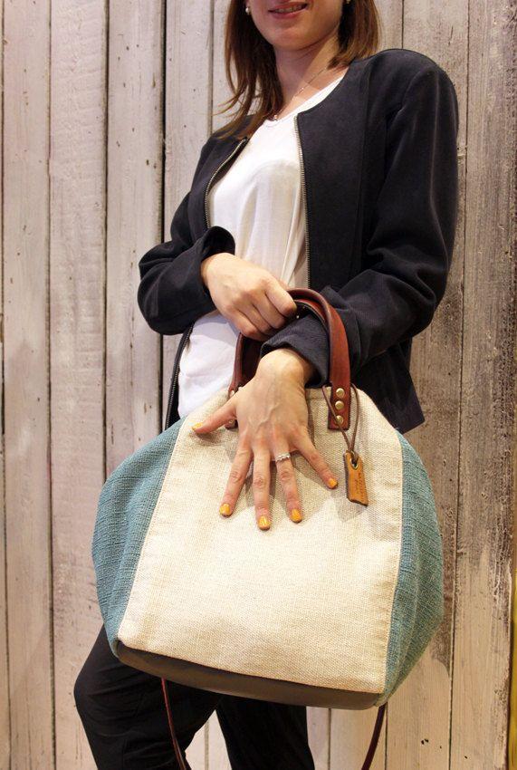 MY BAG AZZURRA Handmade Italian Leather & Canvas Tote Handbag di LaSellerieLimited su Etsy