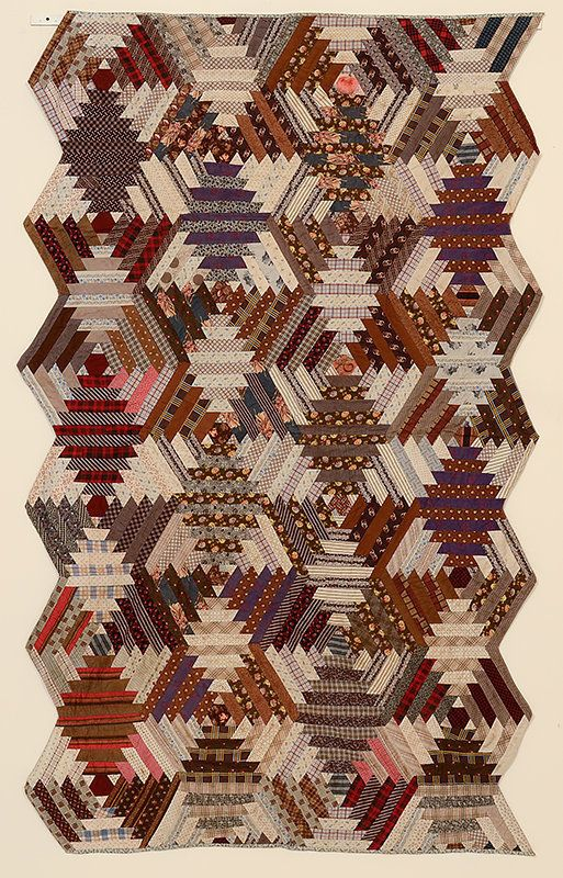 Windmill Blades Log Cabin Quilt: Ca. 1890; Va.