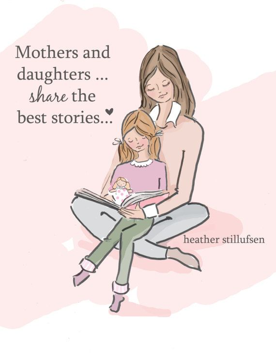 Mom and Daughter Art  Story Time Art   Mom by RoseHillDesignStudio