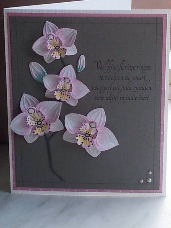 handmade greeting card ... pink and gray ... branch of orchids ... colored, die cut, embossed and shaped ...