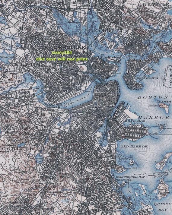 Boston 8x10 Vintage Map Print