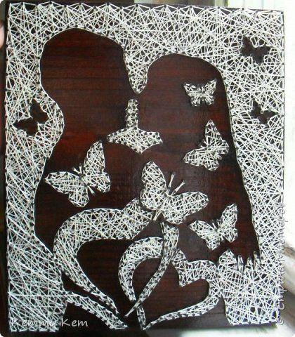 Картина панно рисунок Изонить Картина из гвоздей и ниток стринг-арт Нитки фото 1