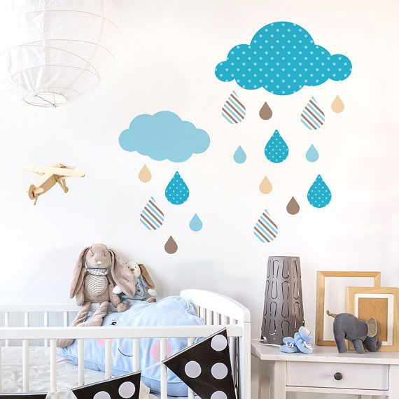 SALE Blue Nursery Clouds Wall Decal Removable Wall Decal