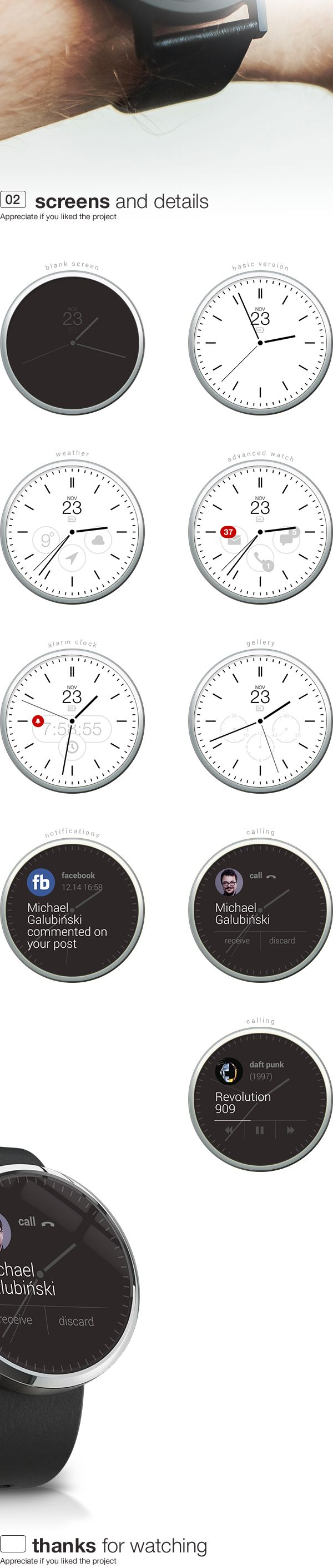 android wear concept watch app by Michal Galubinski, via Behance