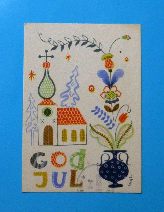 Stig Lindberg - Merry Christmas Miniature Postcard - Sweden - God Jul