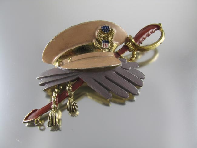 Signed Little Nemo Vintage WW II US Army hat military sweetheart pin.