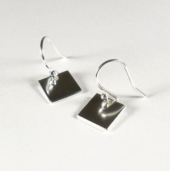 Simple Minimalist Square Geometric Modern Dangle Earrings Sterling Silver Jewellery