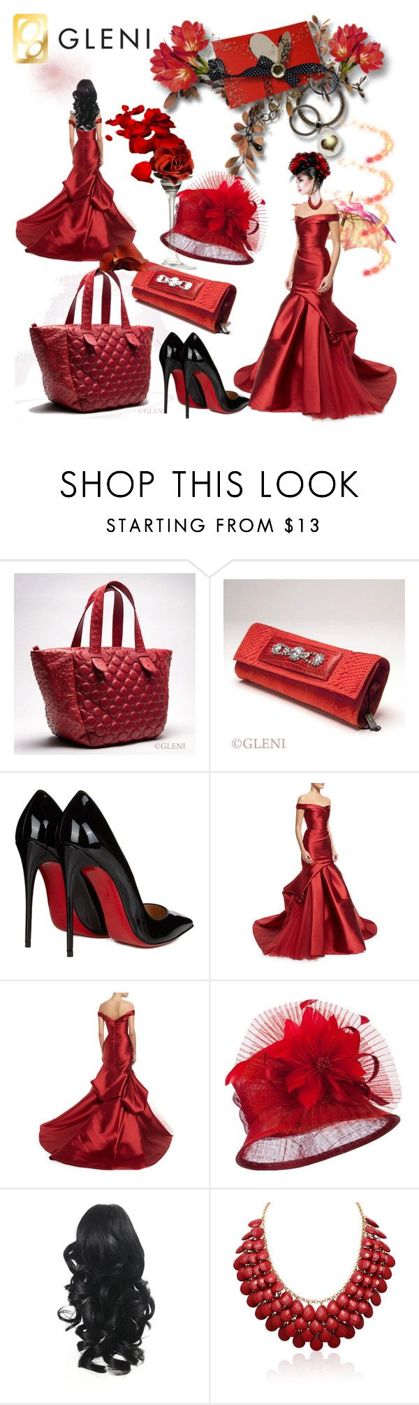 """""""Gleni boutique"""" by irinavsl ❤ liked on Polyvore featuring Christian Louboutin, Monique Lhuillier, gleni and gleniboutique"""