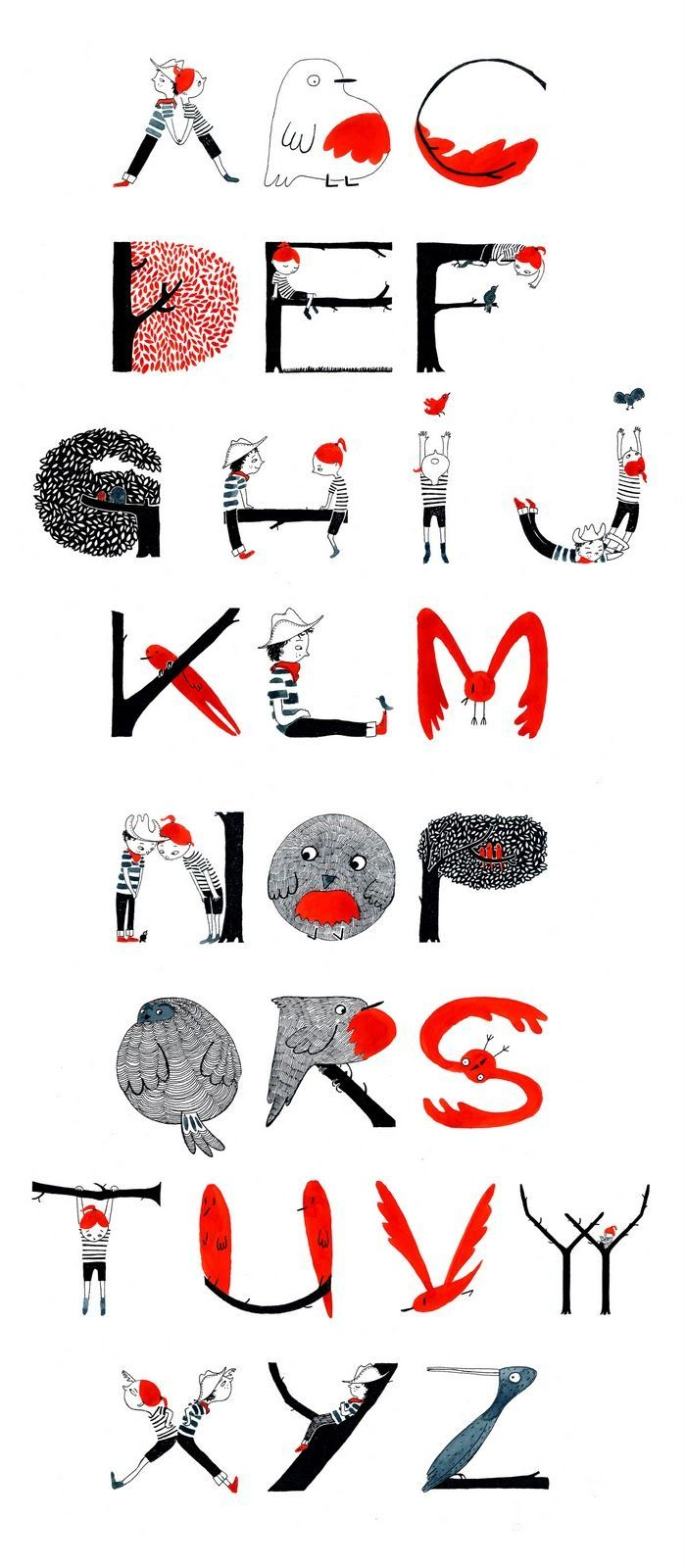 Alphabet illustration with story