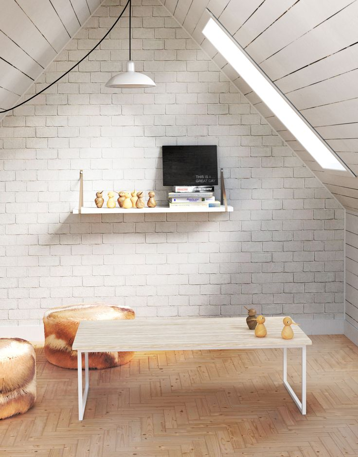 Scandinavian interior with white walls and natural wood. Bright colours and a lot of sunlight. Simple, white coffee table Basic EN.