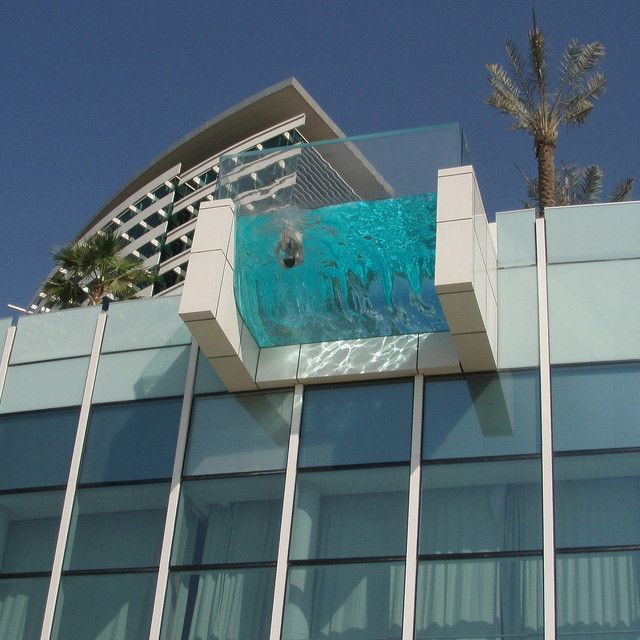Transparant Balcony Pool at InterContinental Resort DubaiSwimming Pools, Dreams, Skinny Dips, Dubai, Balconies, The Edging, Architecture, Pools Design, Hotels